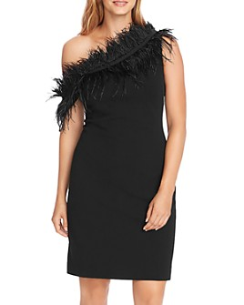 VINCE CAMUTO - Feather-Trimmed One-Shoulder Dress