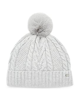 Ted Baker - Ynuta Faux Fur Pom-Pom Cable-Knit Beanie