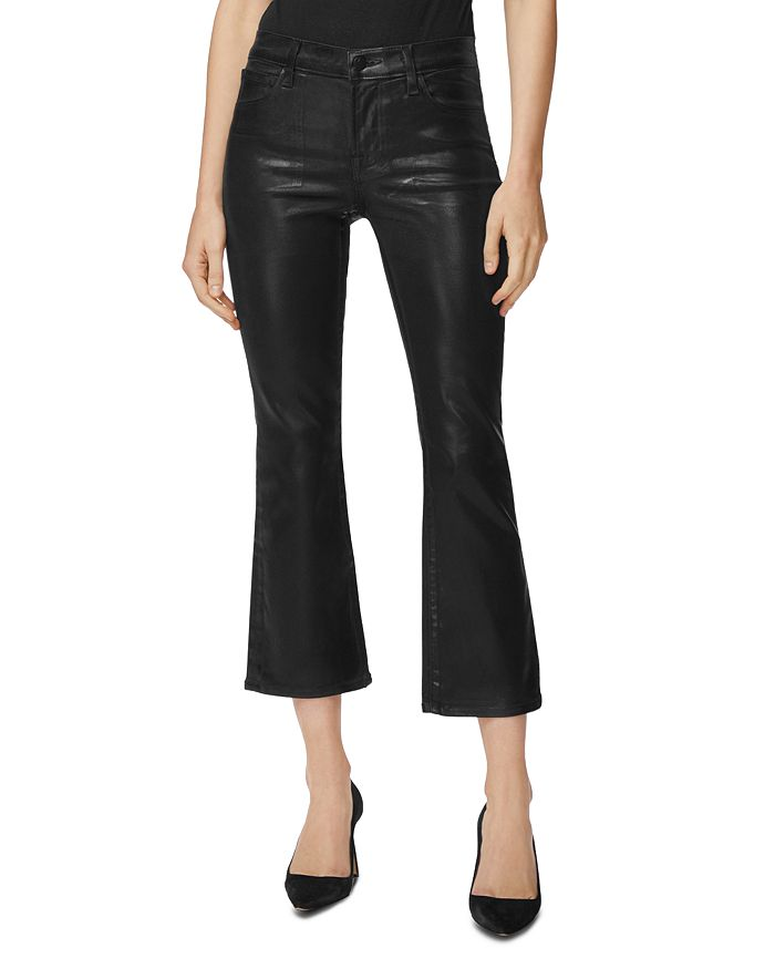 J Brand - Selena Coated Cropped Bootcut Jeans in Galactic Black