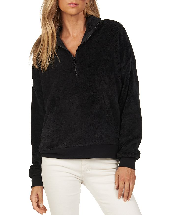Michael Lauren Daley Fleece Half-Zip Sweatshirt In Black