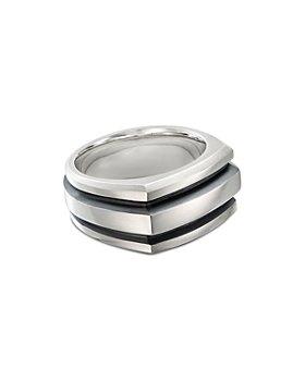 David Yurman - Sterling Silver & Black Enamel Deco Cigar Band Ring
