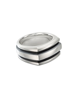 David Yurman - Sterling Silver & Black Enamel Deco Cigar Band Ring