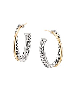 David Yurman - Sterling Silver & 18K Yellow Gold Crossover Medium Hoop Earrings