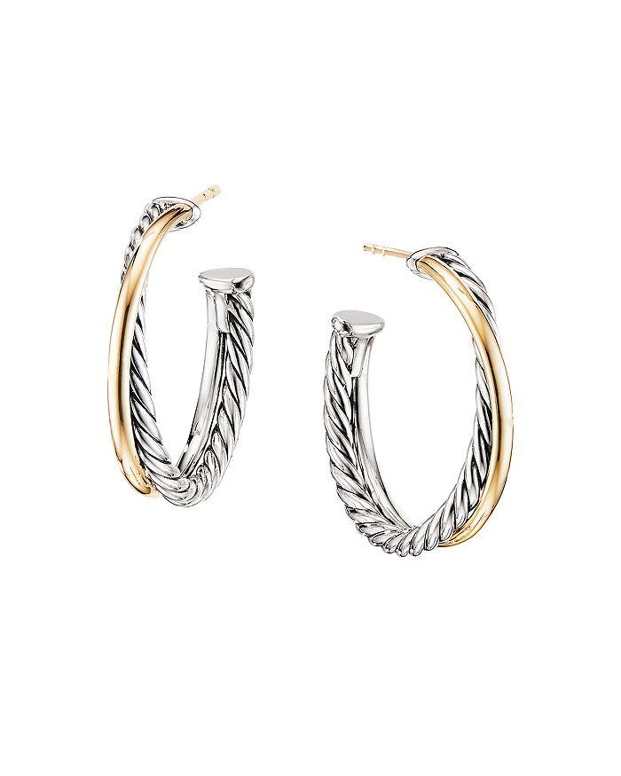 David Yurman - Sterling Silver & 18K Yellow Gold Crossover Medium Hoop Earrings