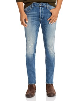 G-STAR RAW - 3301 Slim Fit Jeans in Antic Faded Ripped Marine