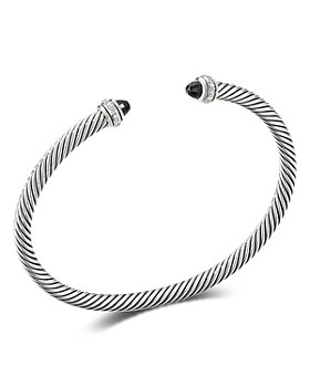 David Yurman - Sterling Silver Cable Classic Bracelet with Black Onyx & Diamonds