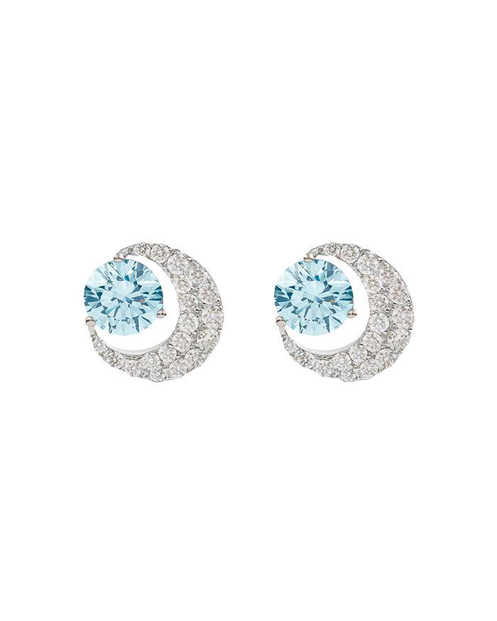 Lightbox Jewelry Blue Moon Lab-grown Diamond Stud Earrings In Blue/white