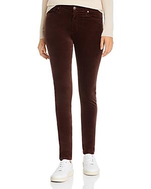 Ag Farrah Velvet Skinny Jeans in Ralleigh Brown-Women