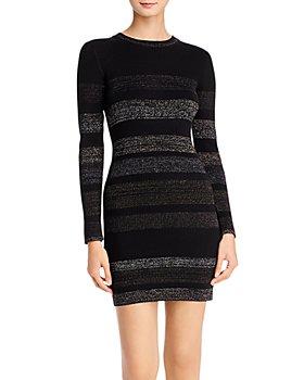 AQUA - Metallic-Stripe Rib-Knit Sweater Dress - 100% Exclusive
