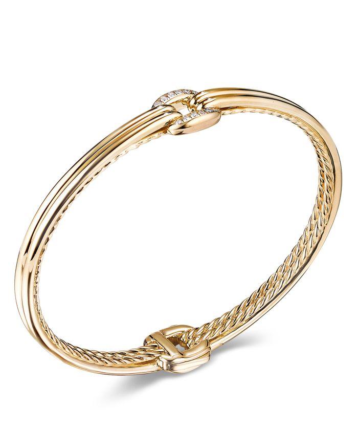 David Yurman 18K Yellow Gold Thoroughbred Center Link Bracelet with Diamonds  | Bloomingdale's
