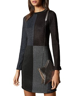 Ted Baker - Color by Numbers Redlo Color-Blocked Knit Dress