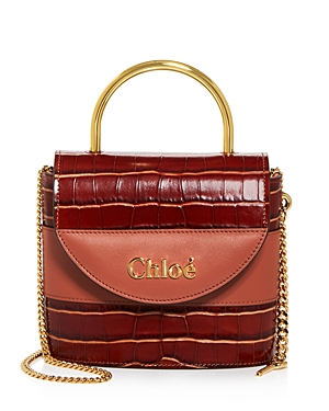 Chloe Aby Small Croc-Embossed Leather Crossbody-Handbags