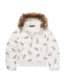 Ralph Lauren - Girls' Faux Fur-Trim Bear Puffer Jacket - Big Kid