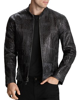 John Varvatos Collection - Embossed-Leather Slim Fit Jacket