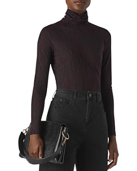 Whistles - Animal Print Burnout Turtleneck