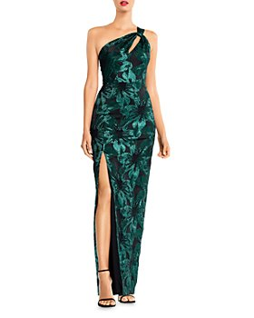 Aidan Mattox - Metallic Jacquard One-Shoulder Gown