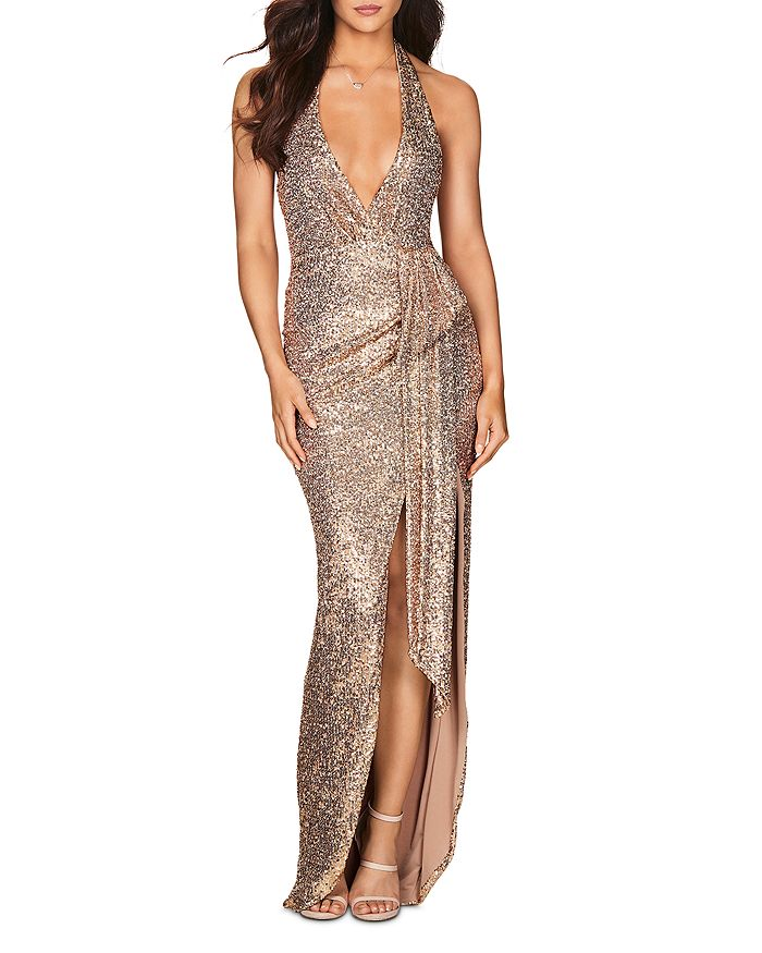 Nookie - Selena Plunging Sequin Halter Gown