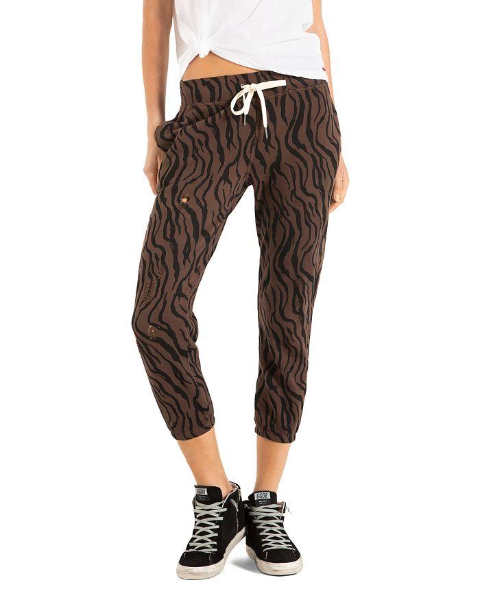 N:philanthropy Derby Zebra Print Jogger Pants In Chocolate Zebra