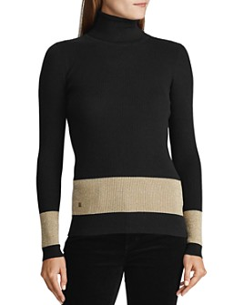Ralph Lauren - Metallic-Stripe Turtleneck Sweater
