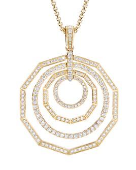 "David Yurman - 18K Yellow Gold Stax Full Pave Pendant Necklace with Diamonds, 32"""