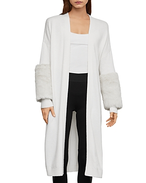 Bcbgmaxazria Tops FAUX-FUR TRIM LONG CARDIGAN