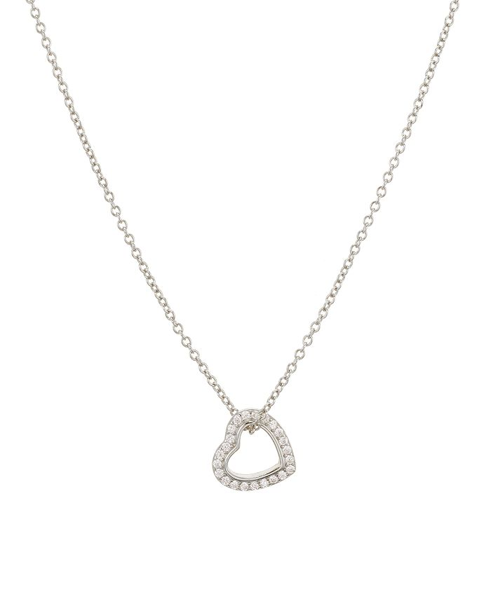 """AQUA - Sliding Heart Pendant Necklace in Gold-Plated Sterling Silver or Sterling Silver, 16""""-18"""" - 100% Exclusive"""