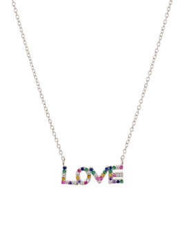 "AQUA - Love Pendant Necklace in Sterling Silver, 16"" - 100% Exclusive"