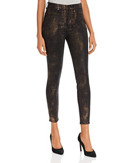 7 For All Mankind - High-Waist Ankle Skinny Jeans in Black Marble Foil