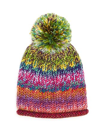 AQUA - Girls' Rainbow Knit Pom-Pom Hat - 100% Exclusive