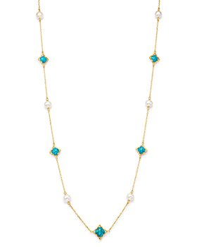 """Bloomingdale's - Freshwater Pearl & Turquoise Clover Station Necklace in 14K Yellow Gold, 36"""" - 100% Exclusive"""