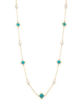 "Bloomingdale's - Freshwater Pearl & Turquoise Clover Station Necklace in 14K Yellow Gold, 36"" - 100% Exclusive"