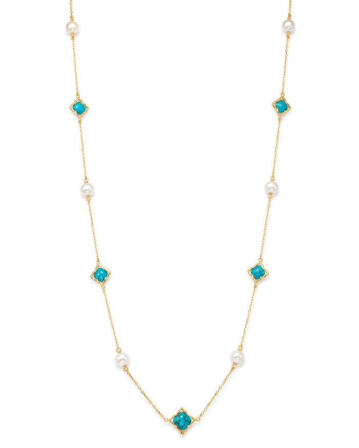 """Bloomingdale's Freshwater Pearl & Turquoise Clover Station Necklace in 14K Yellow Gold, 36"""" - 100% Exclusive    Bloomingdale's"""