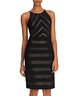 Adrianna Papell - Banded Jersey and Mesh Sheath Dress