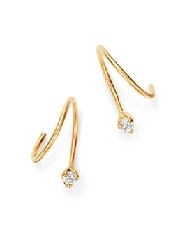 Zoë Chicco - 14K Yellow Gold Diamond Swirl Huggie Hoop Earrings