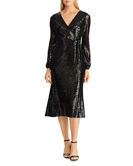Ralph Lauren - Sequined Faux-Wrap Dress