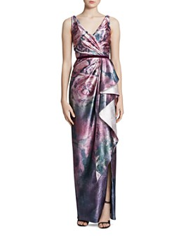 MARCHESA NOTTE - Ruffled Floral Jacquard Gown