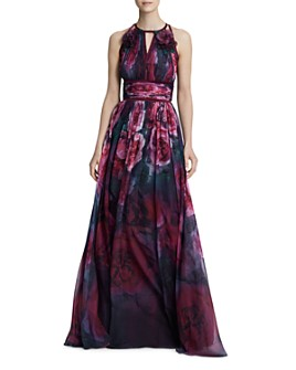 MARCHESA NOTTE - Sleeveless Floral-Print Chiffon Gown