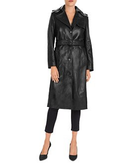 The Kooples - Belted Leather Trench Coat