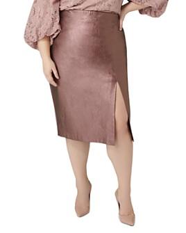 Maree Pour Toi Plus - Metallic Faux-Leather Pencil Skirt