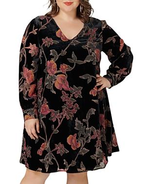 Maree Pour Toi Plus Floral Velvet Trapeze Dress