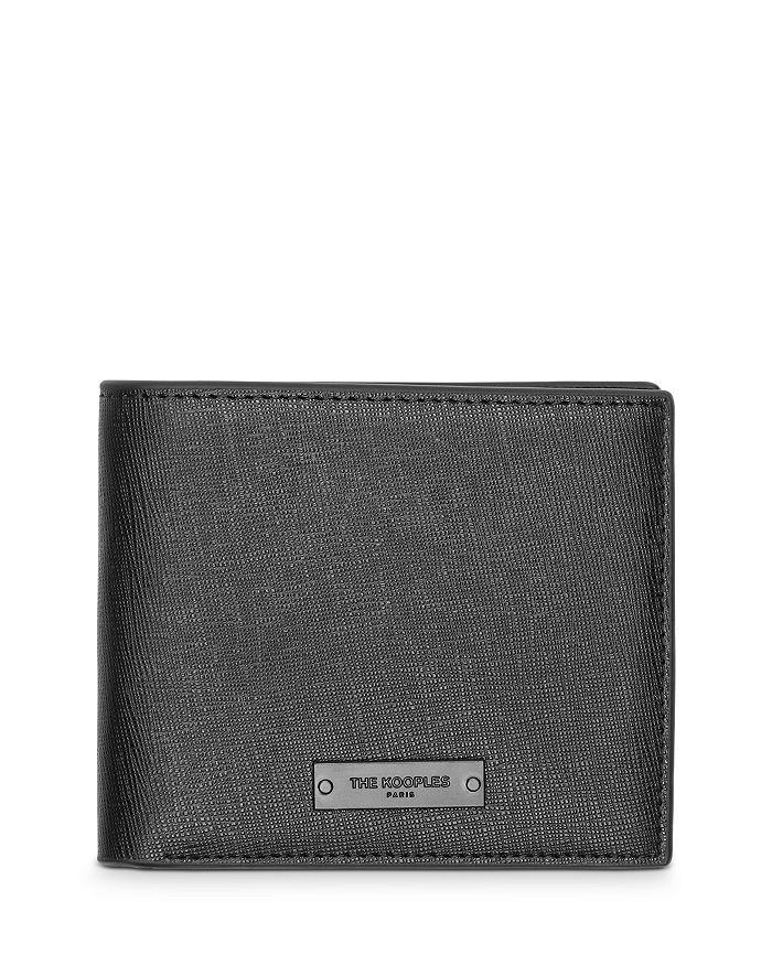 The Kooples Crossgrain Leather Bi-Fold Wallet In Black
