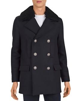 The Kooples - Redding Shearling-Collar Pea Coat