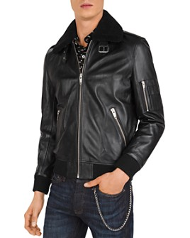 The Kooples - Lissato Shearling-Collar Leather Jacket