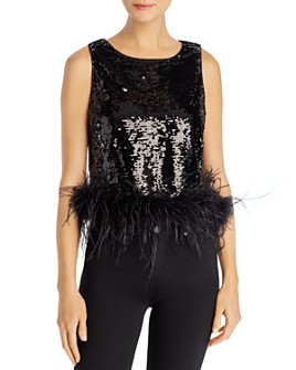 Lucy Paris - Faux-Feather Hem Sequined Top - 100% Exclusive