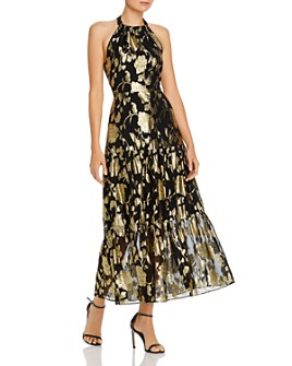 MILLY - Metallic Floral Chiffon Halter Gown