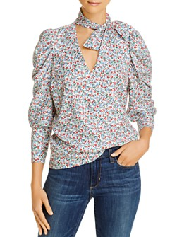 Notes du Nord - Naya Puff-Sleeve Floral Bow Blouse
