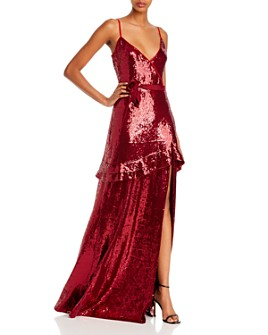 Rachel Zoe - Walker Sequined Faux-Wrap Gown