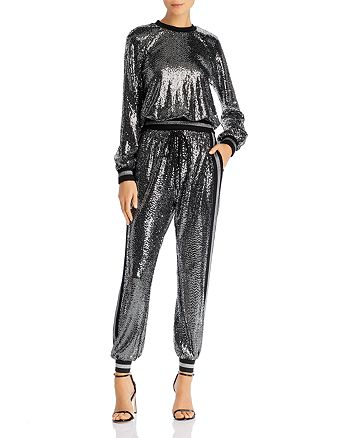 PAM & GELA - Mirror Ball Sequined Sweatshirt & Jogger Pants