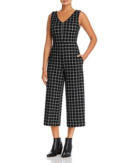 Lyssé - Sleeveless Cropped Check-Print Jumpsuit
