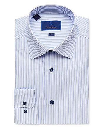 David Donahue - Shadow Stripe Trim Fit Dress Shirt